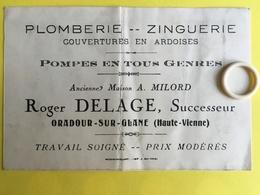 Carte De Visite D' ORADOUR Sur GLANE  ( 87 )  Roger DELAGE En 1938    ( VAU001 )  ( BCPAHV4360 ) - Limoges