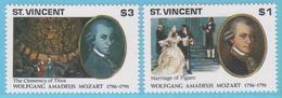 J.P.S. 7 - Musique - Timbre - Compositeur - N° 85 - ST Vincent - Mozart - N° Yvert N° 1337/1338 + BF 140 - Musique