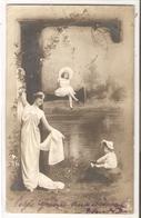 FF 848 OLD  ( 1902 ) FANTASY POSTCARD , FINE ART  , FEMALE FIGURATIVE , ALPHABET - Mujeres