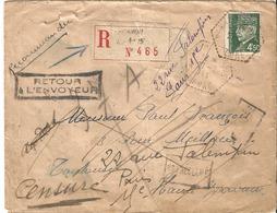 Petain  Lettre Recommandée De Vernon à Toulouse 27/07/1944 Nombreuses Réexpédition Pour étude - 1941-42 Pétain