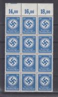 Deutsche Reich Michel Kat,Nr. Dienst  Postfr/** 174  -12- Bogenteil POR - Officials
