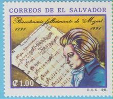 J.P.S. 7 - Musique - Timbre - Compositeur - N° 99 - Salvador - Mozart - N° Yvert 1123 - Musique