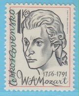 J.P.S. 7 - Musique - Timbre - Compositeur - N° 110 - Tchécoslovaquie - Mozart - N° Yvert  2435 - Musique