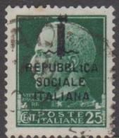 Italy Repubblica Sociale Italiana S 60 1944 Overprinted Repubblica Sociale Italiana,25c Green,used, - Mint/hinged