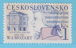 J.P.S. 7 - Musique - Timbre - Compositeur - N° 111 - Tchécoslovaquie - Mozart - N° Yvert  2876 - Musique
