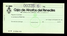 CAJA DE AHORROS DEL PENEDES Chèque Bancaire Bank Check Cheque España - Chèques & Chèques De Voyage