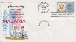 Enveloppe  FDC  1er  Jour   U.S.A    Eradication  Du  Paludisme  Malaria   1962 - Maladies