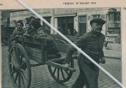 WIJNEGEM..1934.. VIJF WIJNEGEMSCHE BENGELS OP DE STOOTKAR. DE NAAM OP DE KAR J. PLASMANS - Vieux Papiers