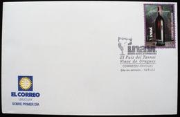 2004 Uruguay FDC Postmark Flamme País Del Vino Tannat - Glass Of Wine - Uva Grape Raisin Vin Vins Bottle - Uruguay