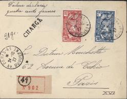 Lettre Recommandé Chargée YT 244 + 245 Légion Américaine Paris 41 Av Duquesne 24 10 27 Cachets Cire BR Valeur Déclarée - 1921-1960: Modern Period