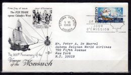 1969 Canada Voyage Of The Nonsuch The Fur Trade FDC Runned To New York MiNr. 423 Sail, Transportation, Ship, - Lettres & Documents