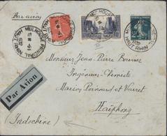 YT 261 La Rochelle + 199 + 239 Semeuse CAD Mulhouse Principal 9 1 1932 Pour Hai Phong Indochine Par Avion - Marcophilie (Lettres)