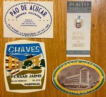 3 X Rotulos Etiqueta De HOTEL Figueira Da Foz + Chaves + Porto. SET Of 4 Vintage LUGGAGE Label Etiquette PORTUGAL - Etiquettes D'hotels