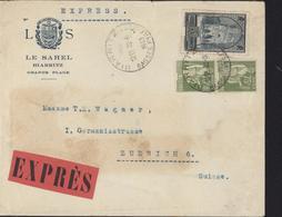 LS Le Sahel Biarritz Exprès YT 284 A Paix + 259 Cathédrale Reims CAD Biarritz 29 6 1953 Pr La Suisse Ambulant Paris Bâle - Marcophilie (Lettres)