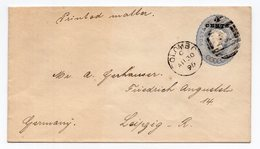 1896 CEYLON,SRI LANKA,COLOMBO TO LEIPZIG,GERMANY,VICTORIA 5 CENTS STATIONERY COVER,USED - Sri Lanka (Ceylon) (1948-...)