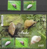 FRENCH POLYNESIA, 2020, MNH, SNAILS, ENDEMIC SNAILS OF POLYNESIA, 2v+ SHEETLET - Stamps