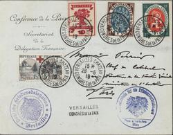 Mixte Enveloppe Conférence De La Paix YT Allemagne 106 108 + YT France 156 CAD Versailles Chateau Congrès Paix 28 6 19 - 1877-1920: Semi Modern Period