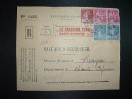 DEVANT LR VALEURS A RECOUVRER TP PAIX 1F Paire + SEMEUSE 30c + 10c Paire OBL.26-12 38 ST ETIENNE MANUFACTURE LOIRE (42) - 1921-1960: Modern Tijdperk