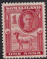 Somaliland 1942 KGV1 1 Anna Scarlet Umm SG 106 ( C114 ) - Somaliland (Protectorate ...-1959)