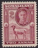 Somaliland 1942 KGV1 2 Annas Maroon Lmm SG 107 ( C134 ) - Somaliland (Protectorate ...-1959)