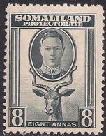 Somaliland 1942 KGV1 8 Annas Grey MM SG 111 ( B860 ) - Somaliland (Protectorate ...-1959)