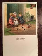 """Cpa, Illustrateur, Signée PAULI. EBNER, """"Le Secret"""" (enfants, Secret Murmuré à L'oreille, Cheval à Roulettes, éd DAGB - Ebner, Pauli"""