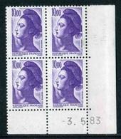 """Bloc** De 4  Timbres De 1983 """"10,00  - Marianne De Gandon - Type Liberté"""" Avec Date  3 . 5 . 83 - Coins Datés"""