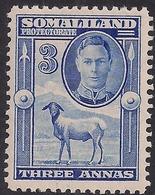 Somaliland 1942 KGV1 3 Annas Bright Blue Lmm SG 108 ( C621 ) - Somaliland (Protectorate ...-1959)