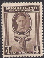 Somaliland 1942 KGV1 4 Annas Sepia Umm SG 109 ( C196 ) - Somaliland (Protectorate ...-1959)