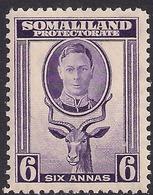 Somaliland 1942 KGV1 6 Annas Violet Umm SG 110 ( B1247 ) - Somaliland (Protectorate ...-1959)