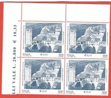 Italia 2001; Abbazia Di Santa Maria Di Sylvis : Quartina Di Angolo Superiore Con  Doppio Prezzo Del Foglio. - 2001-10: Mint/hinged