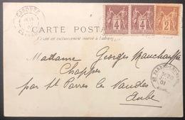Carte De L'ile De Chappe Les Baigneuses 10c Sage N°88 Paire & N°85 De Cabourg Pour Chappes Peu Commun ! - 1876-1898 Sage (Type II)