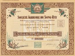 Indochine - Sté Agricole Du Song-Ray - Capital De 2 000 000 F / Action De 10 Piastres - Asie
