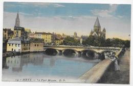 METZ EN 1927 - N° 14 - LE PONT MOYEN AVEC ENFANTS - CPA COULEUR VOYAGEE - Metz