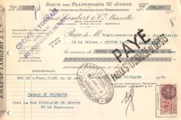 1935 RHUM DES PLANTATIONS SAINT JAMES ERNEST LAMBERT A MARSEILLE - ETS ABEGY A MARSEILLE  50-0580 - Francia
