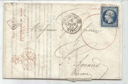 N° 14 PC VALENCIENNES LETTRE ENTETE RAFFINEURS DE SUCRE 1855 PRECURSEUR PORTE TIMBRE RARE - 1849-1876: Période Classique