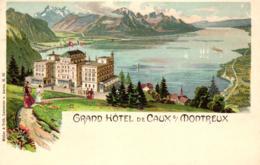 Grand Hotel De Caux, Montreux, Farb-Litho, Um 1900/05 - VD Vaud