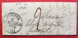 Manche-Lettre (De Denneville) Avec Cursive 48 La Haye Du Puits-Cachet Type 12 De Periers - 1801-1848: Precursors XIX