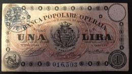 Banca Popolare Operaia 1 Lira 1871 Biglietto Fiduciario   LOTTO 1923 - Italien