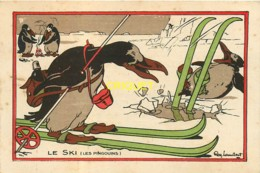 Illustrateur Lambert, Chromo Pharmacie Sarzaud à Redon, Pingouins Et Ski Sur Glace - Other Illustrators