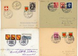 LOT DE 4 X LETTRE AVEC CACHETS COMMEMORATIFS DIFFERENTS 1947/49 - 1921-1960: Periodo Moderno