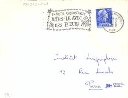 TOULON-ENTREPOT VAR OMec SECAP 26-2-1958 EN TOUTES CIRCONSTANCES / DITES-LE AVEC / DES FLEURS … - Annullamenti Meccanici (pubblicitari)