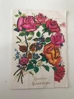 Carte Postale Ancienne Pop-Up Fleurs (avec Paillettes) - A Systèmes
