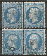 France - Napoleon III - N°22 Oblitéré - 4 Exemplaires - 1862 Napoleon III