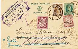 Belgique,  Entier 35c Avec Compléments Et Taxe Française 60c, De Mons  En 1930 Pour La France TB - Cartes Postales [1909-34]