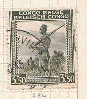 PIA - CONGO BELGA  - 1942 : Serie Corrente : Soldato Indigeno  -  (Yv 242) - Oblitérés