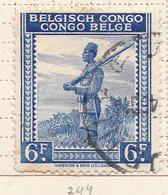 PIA - CONGO BELGA  - 1942 : Serie Corrente : Soldato Indigeno  -  (Yv 244) - Oblitérés