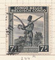 PIA - CONGO BELGA  - 1942 : Serie Corrente : Soldato Indigeno  -  (Yv 244A) - Oblitérés
