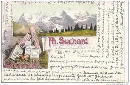 5082 - Les Alpes Publicité Chocolat Suchard En 1899 + Cachet Villars Sur Ollon - Altri