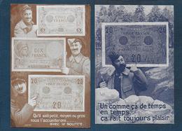 Billets Français - 2 Cartes - Monnaies (représentations)